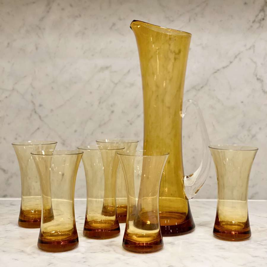 Extra tall Whitefriars amber jug and tumblers set