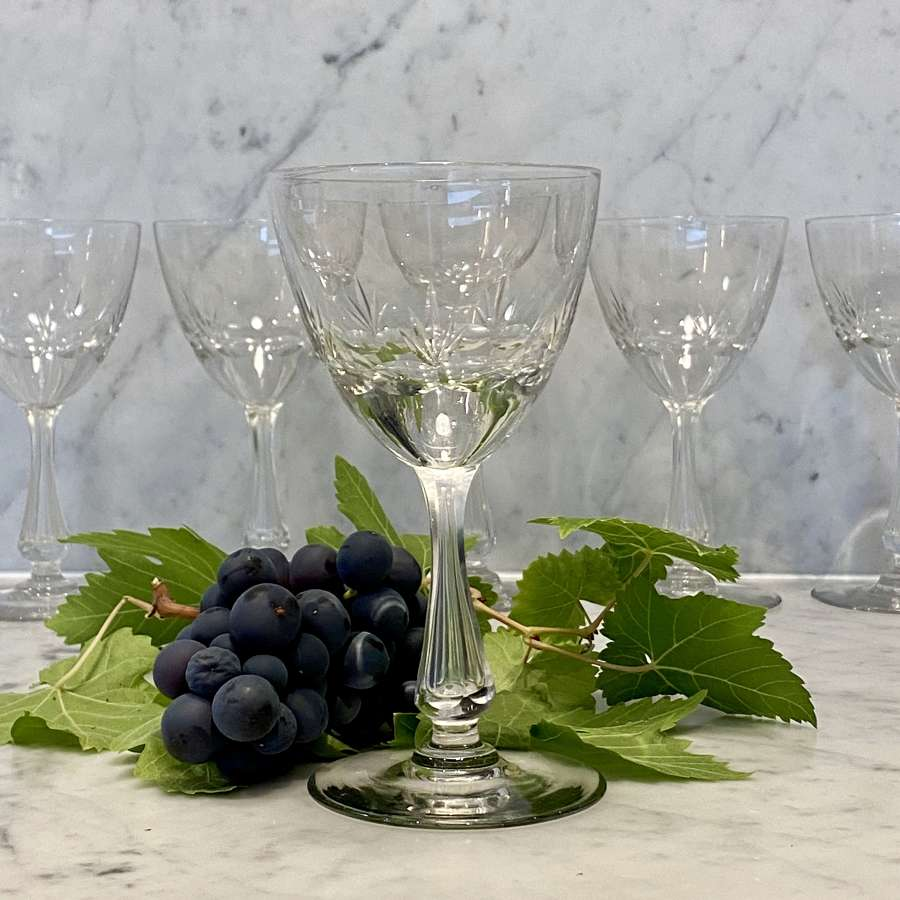 Six extra large Val Saint Lambert crystal wine goblet glasses