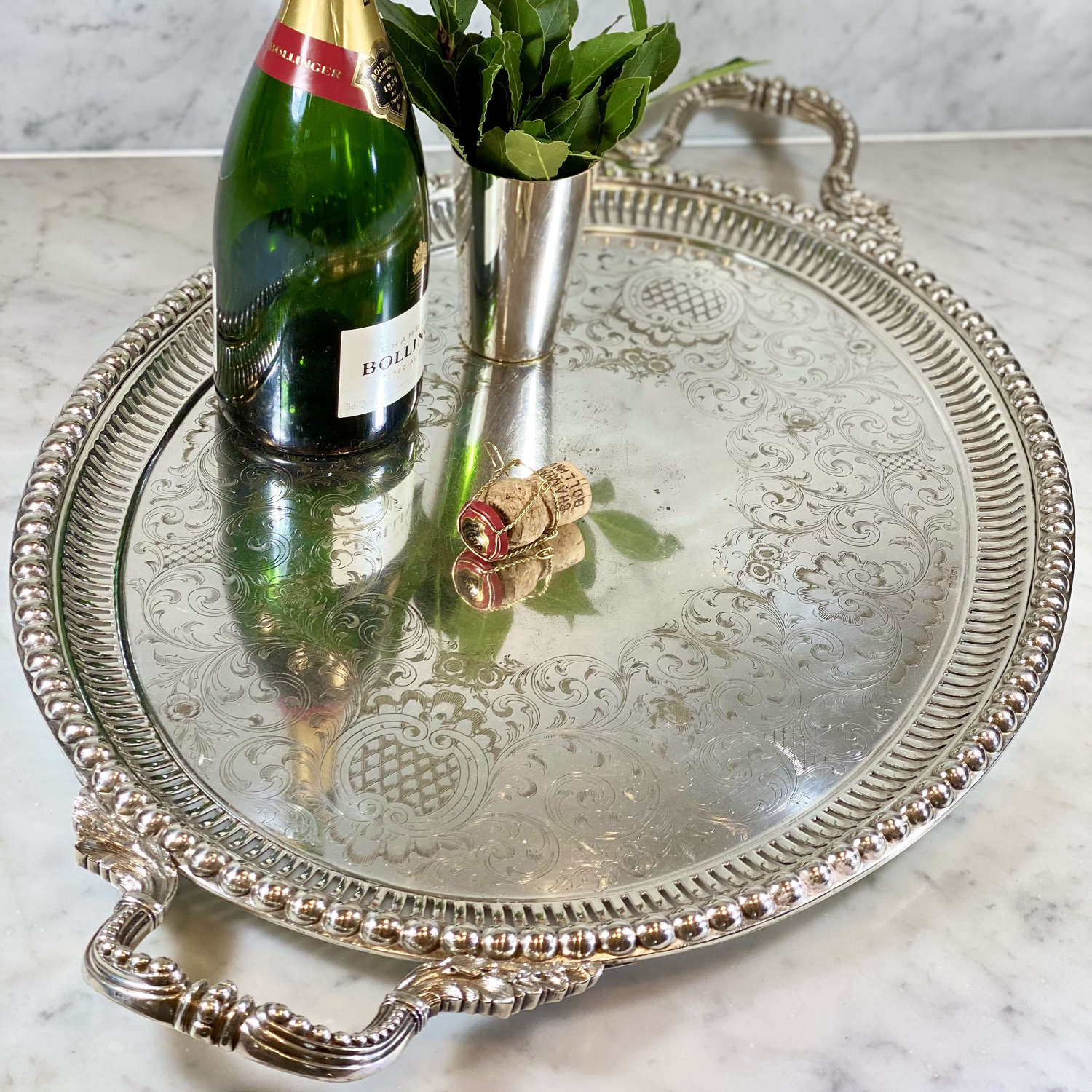 Magnificent early Victorian silver plated serving tray