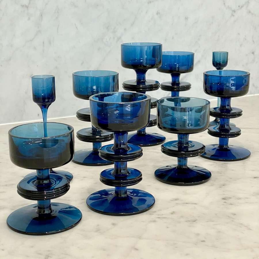 Large set of 1970s Wedgwood navy glass candlesticks
