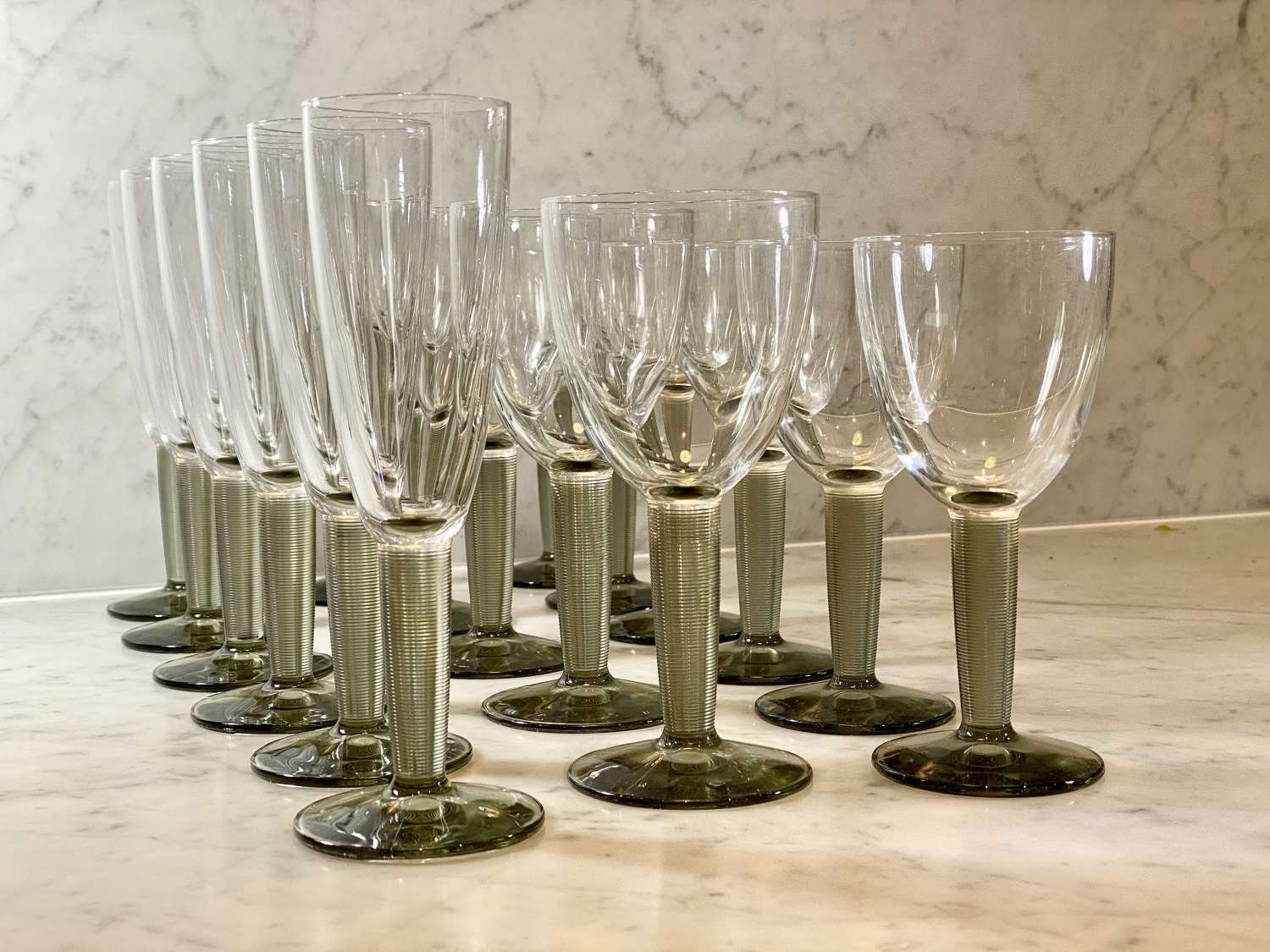 Fab set of Retro 1960s smoked grey ribbed glass stemmed glasses