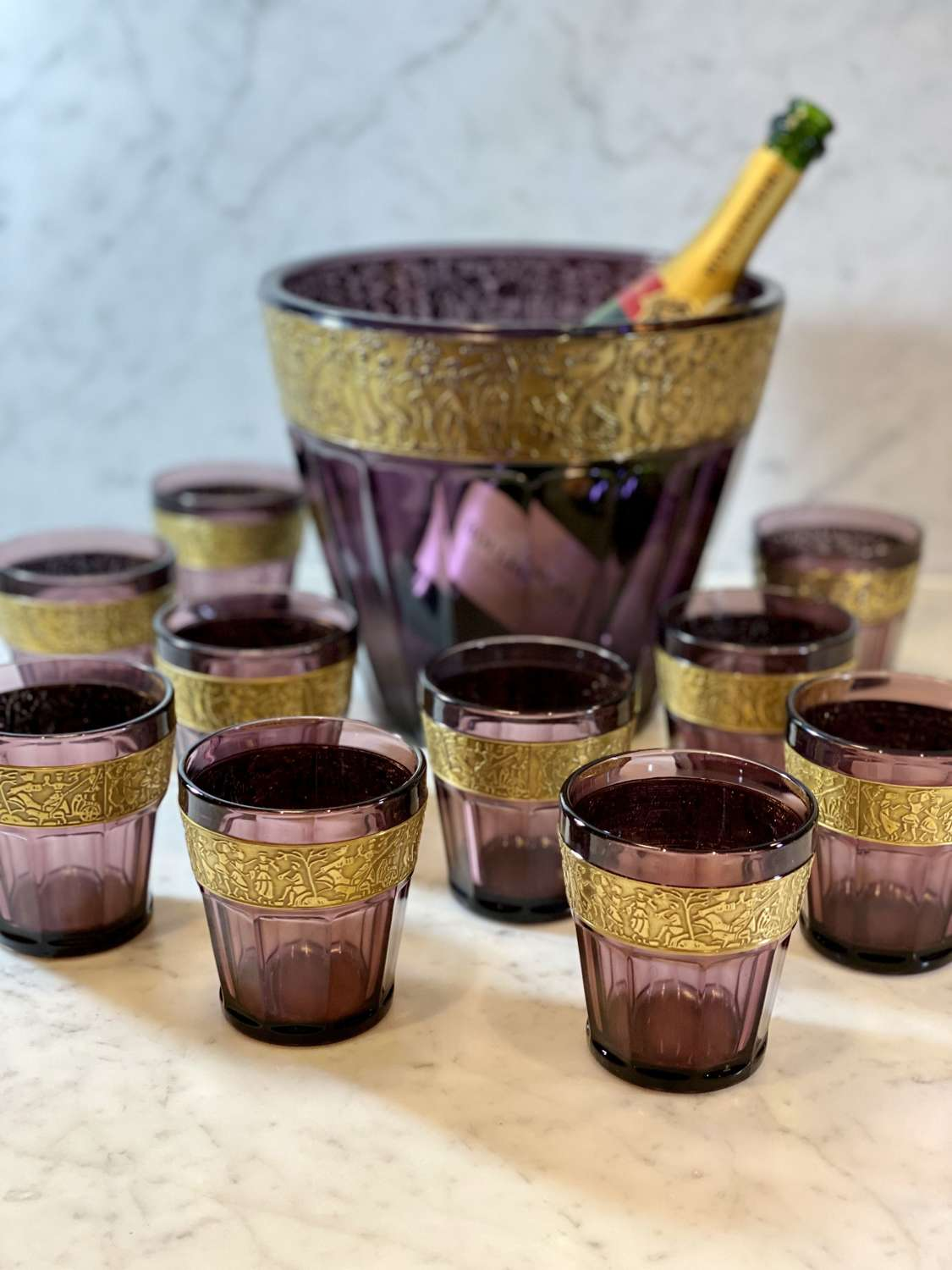 Art Deco amethyst glass & gilt collar wine bucket cooler and tumblers