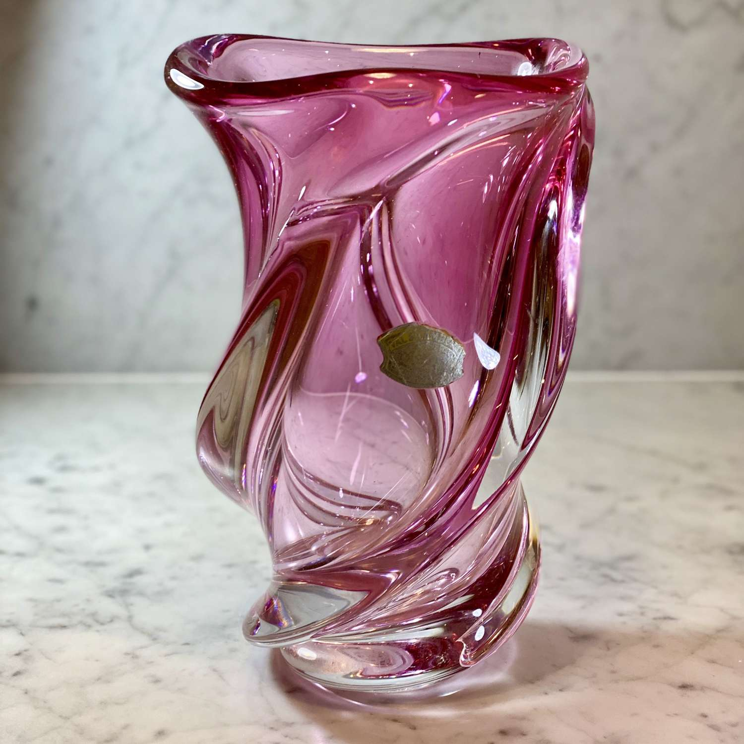 Superb extra large pink spiral crystal vase by Val Saint Lambert