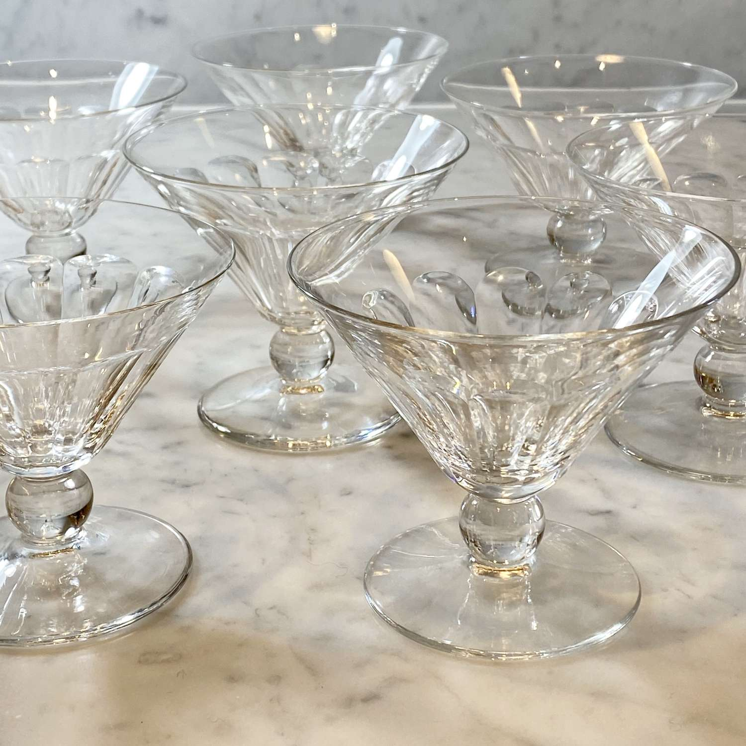 Set of 7 Val Saint Lambert crystal cocktail or champagne coupe glasses