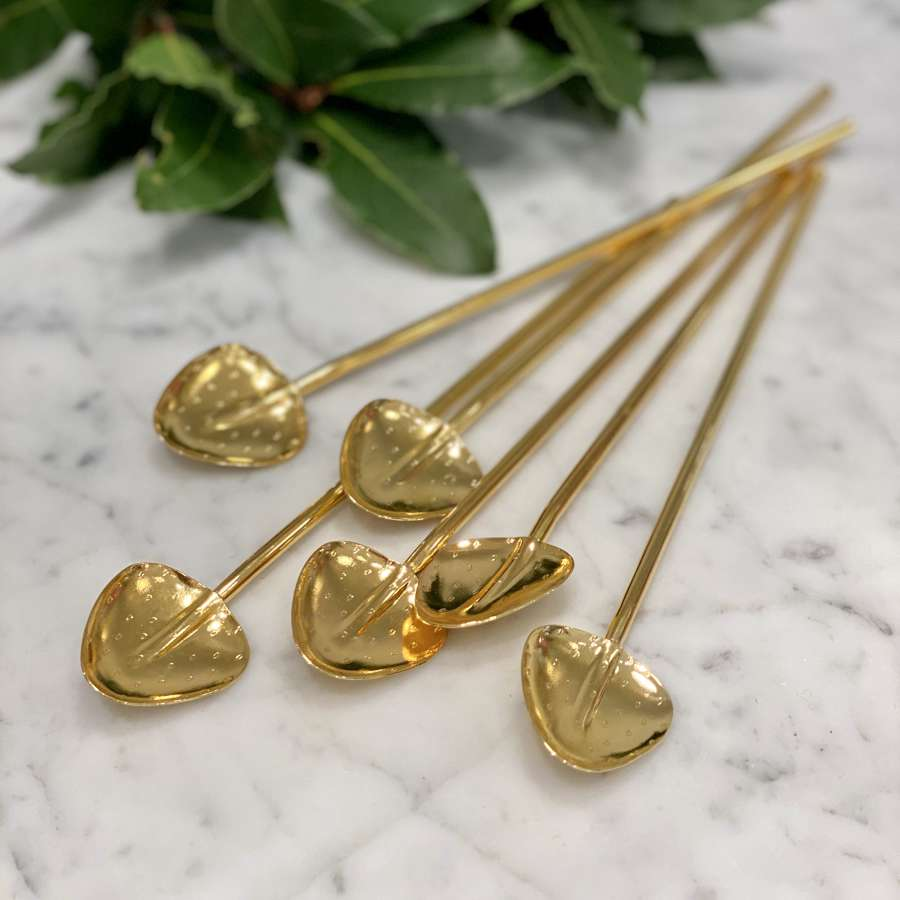 Set of six gold plated cocktail straw spoons