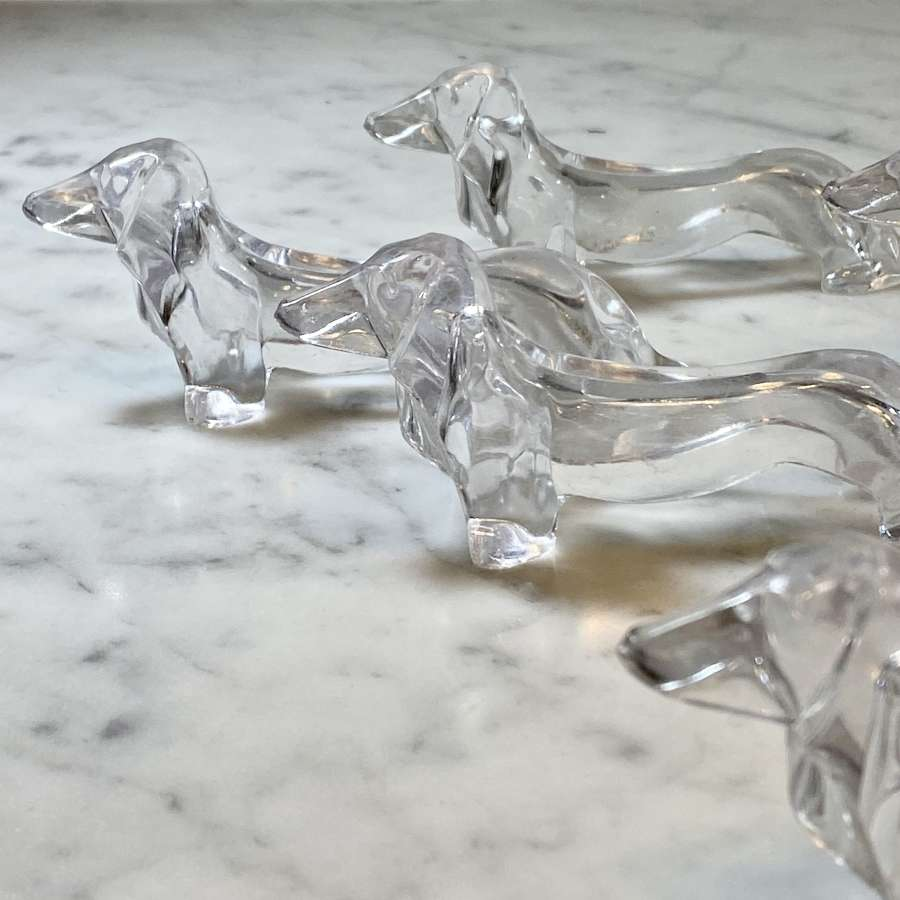 Set of Lucite acrylic Dachshund dog cutlery rests 1970s