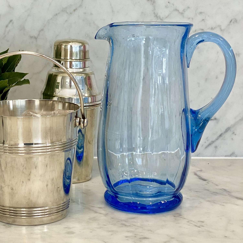 Art Deco uranium blue glass cocktail, water or juice jug
