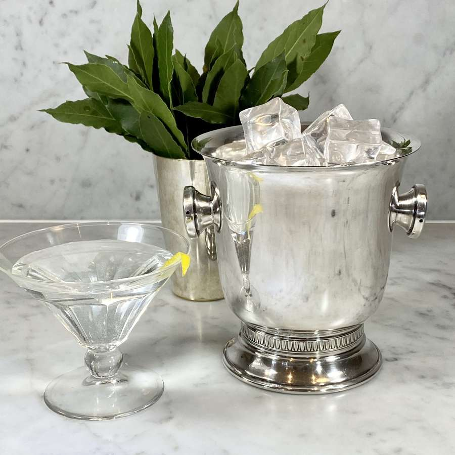 French silver plated pedestal ice bucket