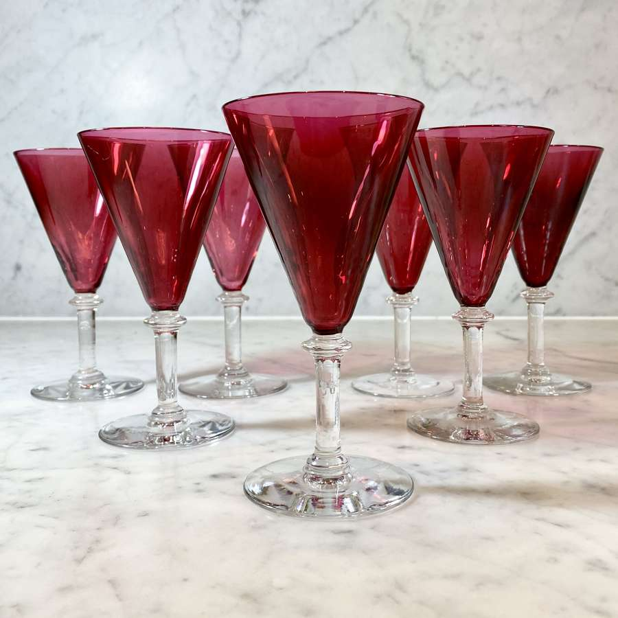 Val Saint Lambert cranberry red cocktail or champagne glasses