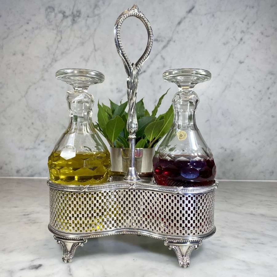 Val Saint Lambert crystal & silver plated oil and vinegar cruet set