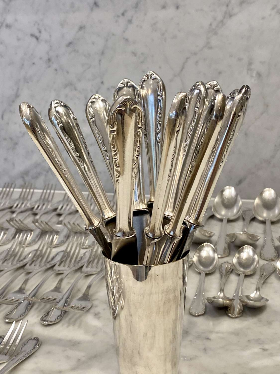 Full set of Art Deco silver plated cutlery for 12 people