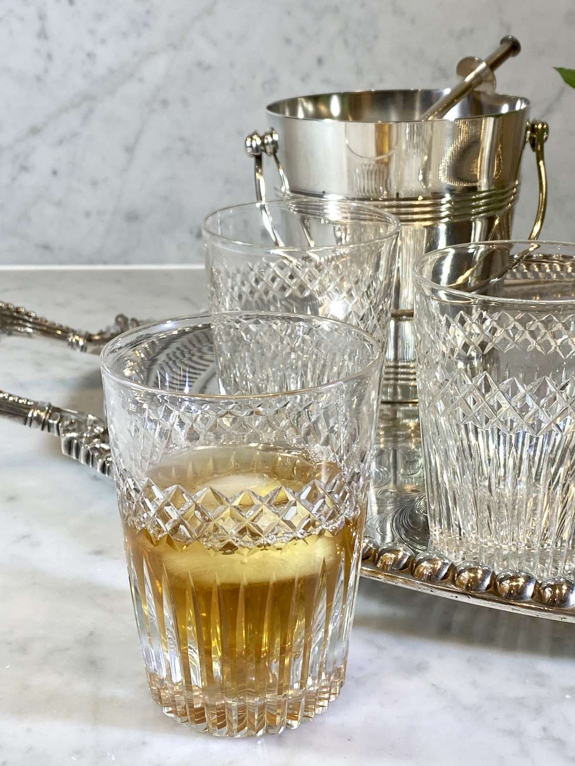 Trio of early 20th Century cut glass whiskey tumblers