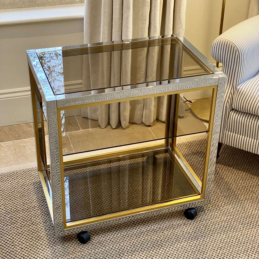 1970s brass, chrome and smoked glass cocktail drinks trolley