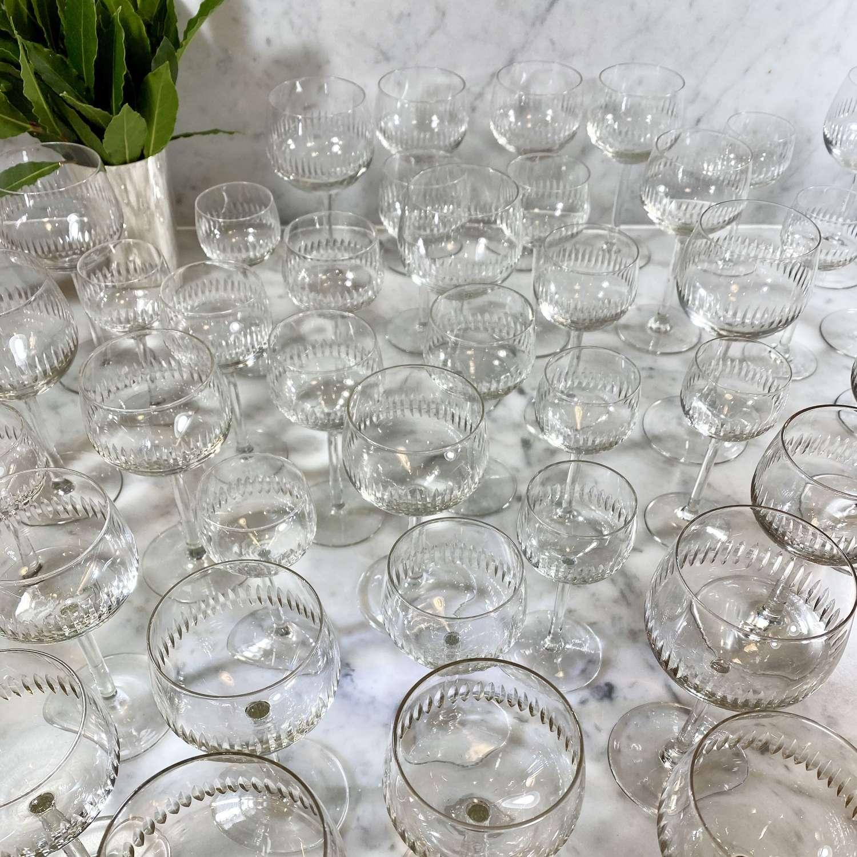 Large set of French vintage After Dinner glassware