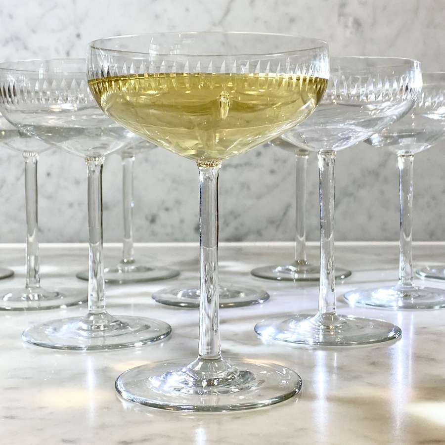 10 French vintage cut glass large champagne or cocktail coupes