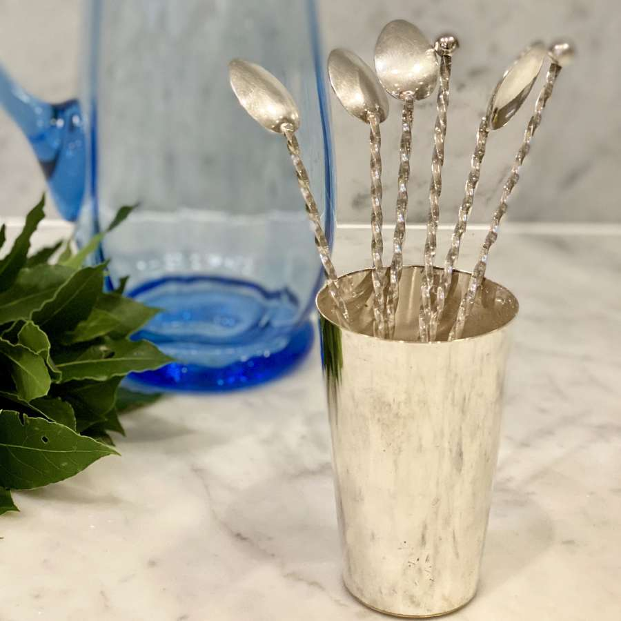 Mid Century barley twist silver plated cocktail spoon set