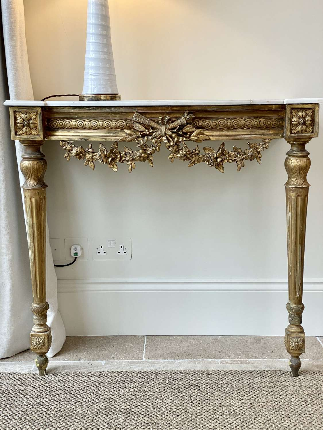 19th Century French neoclassical giltwood and marble console table