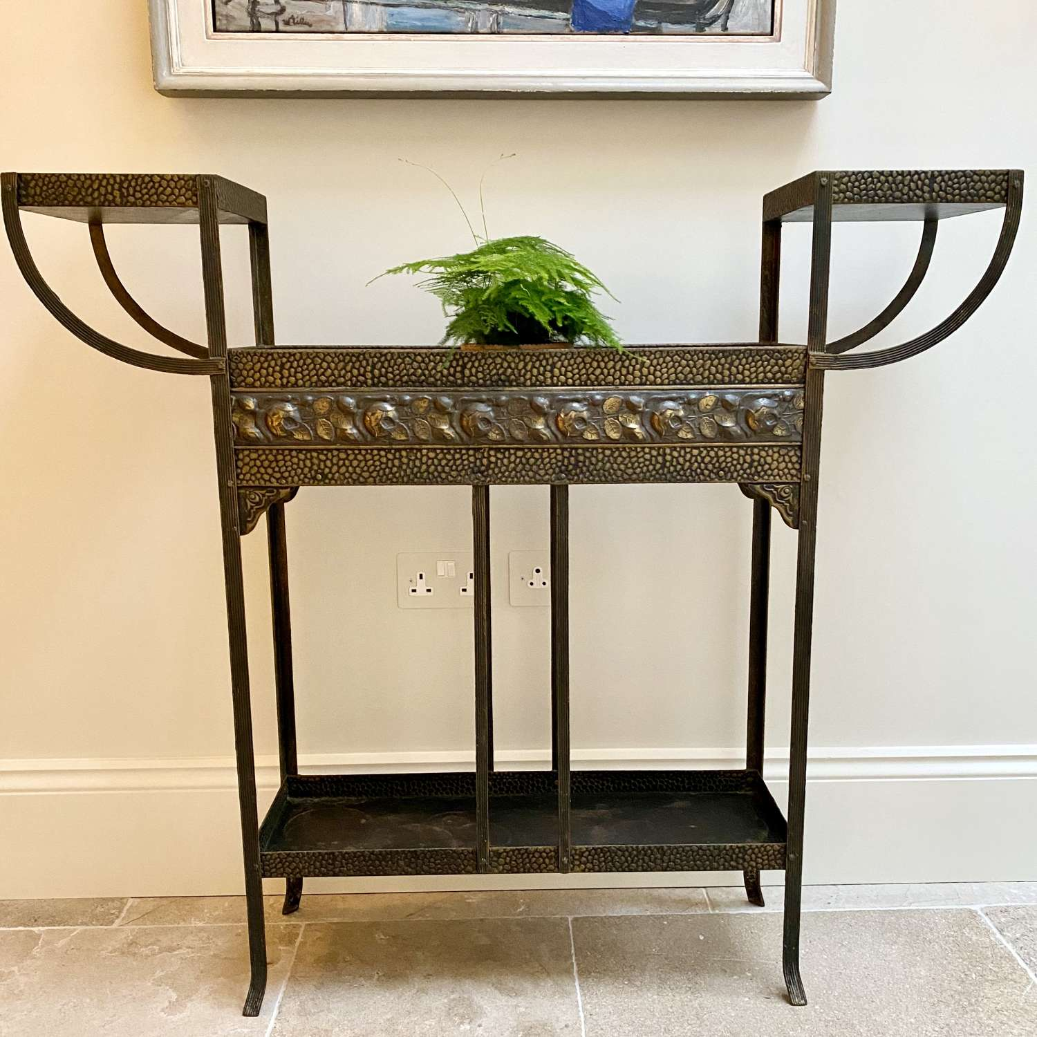 Art Nouveau bronzed jardiniere planter stand/drinks table