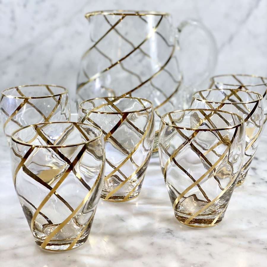 Mid Century 18ct gold spiral cocktail jug and tumblers set