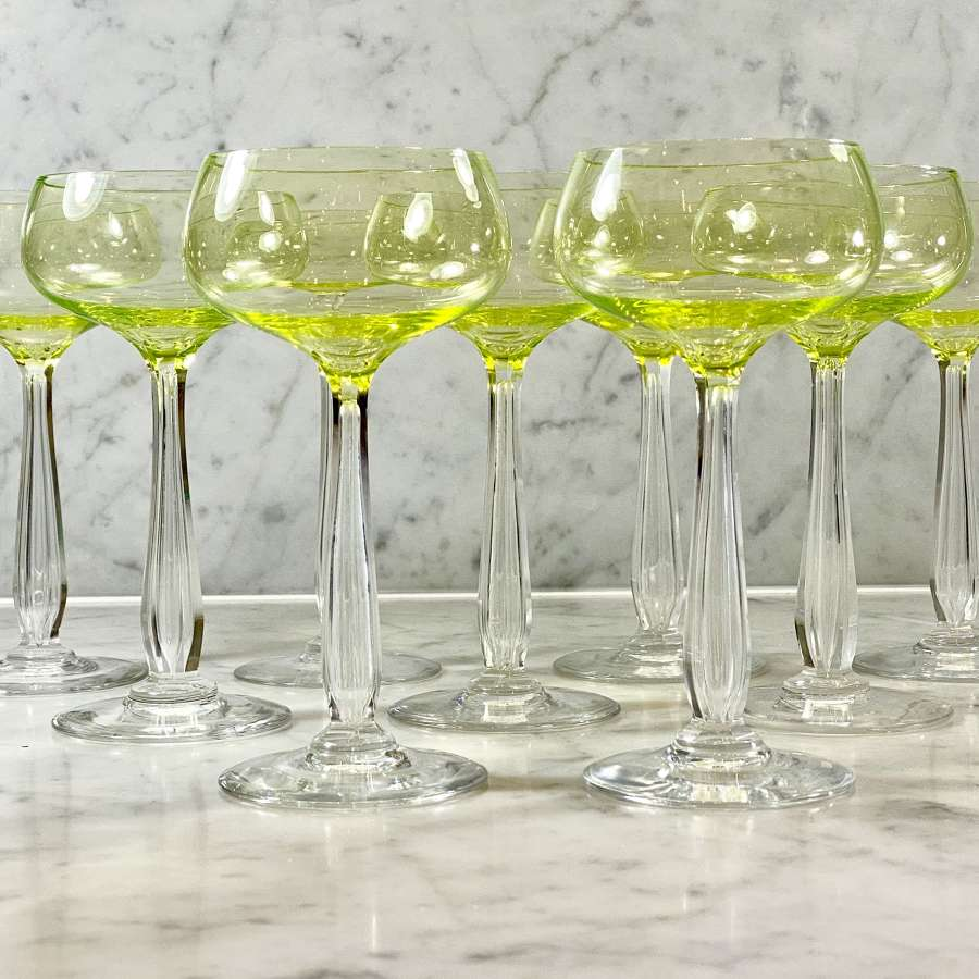 9 Art Deco French uranium wine, champagne or cocktail glasses