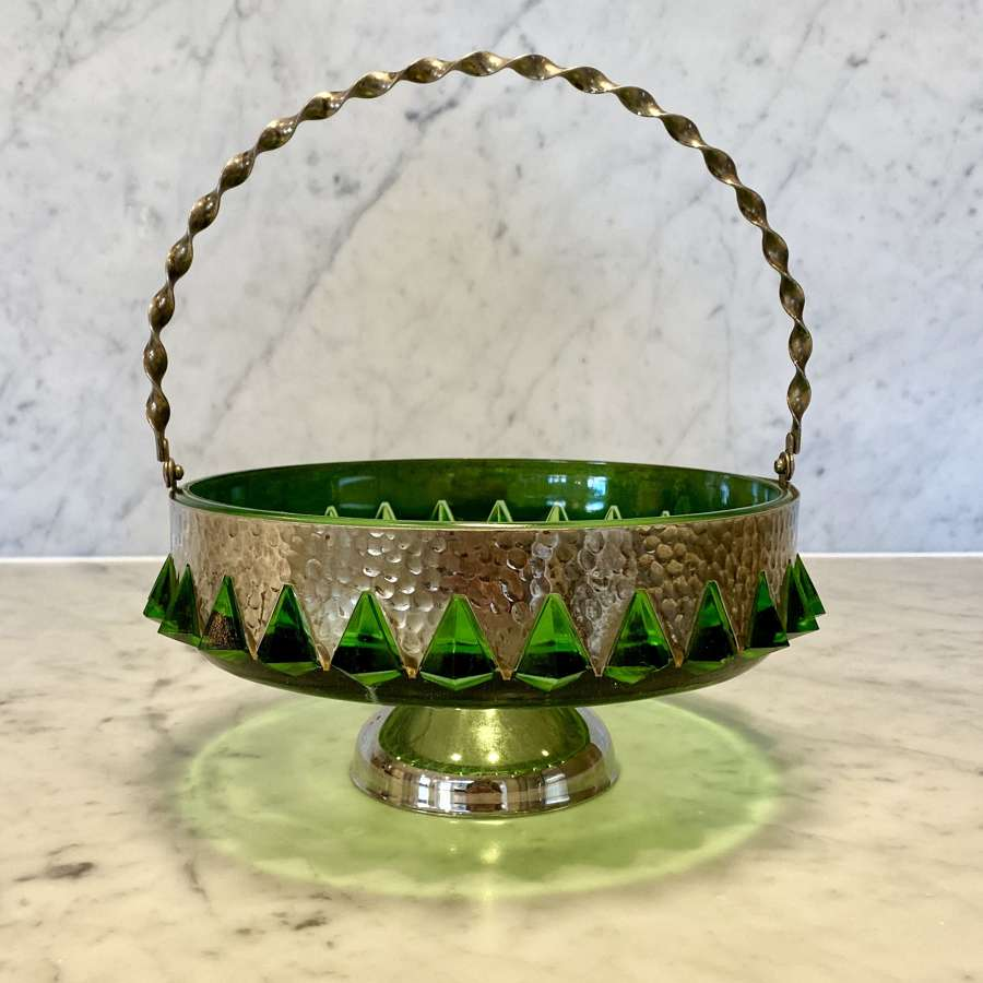 Arts and Crafts green glass and hammered metal basket bowl