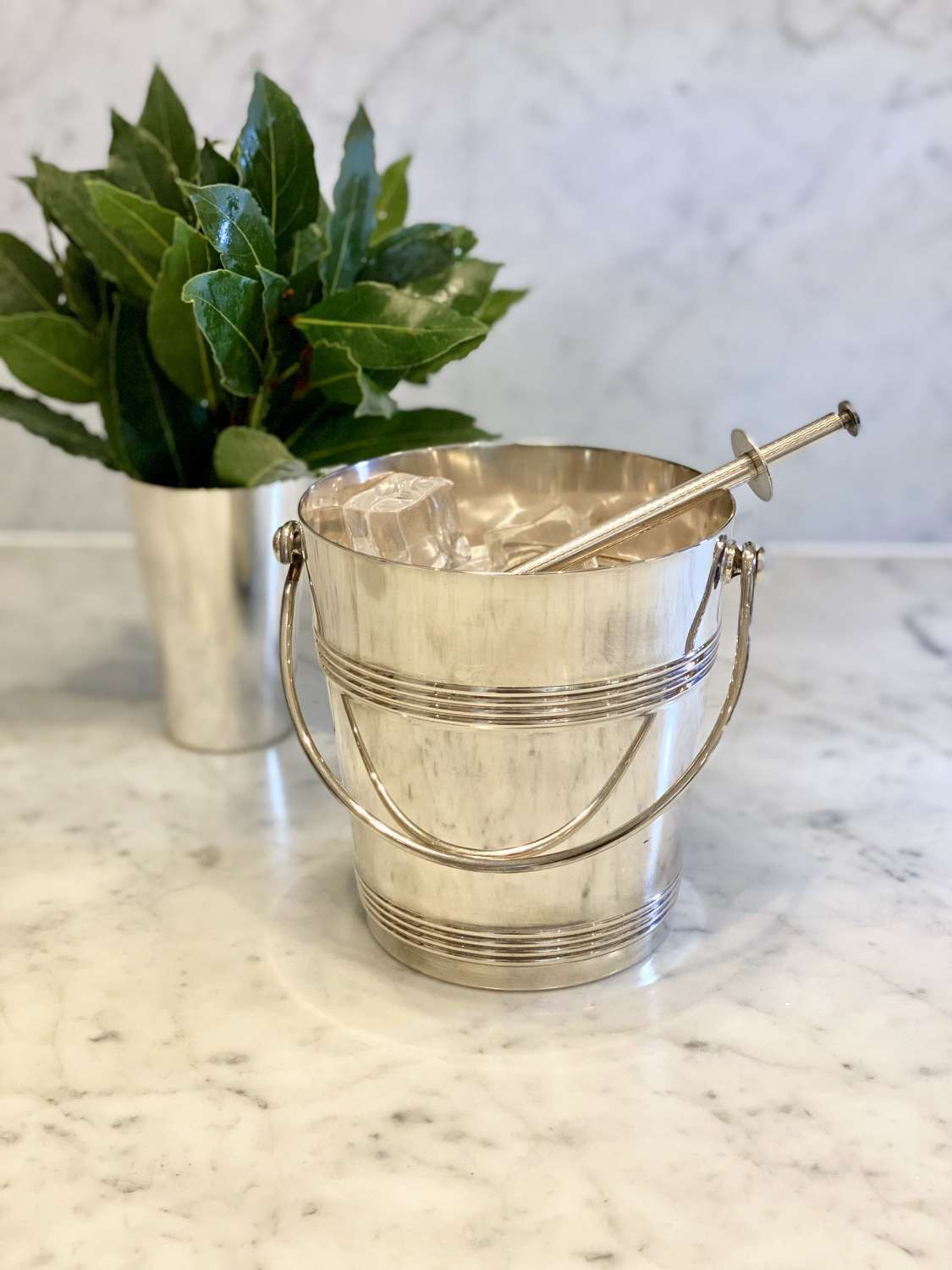 Art Deco Christofle ice bucket with matching ice grabber tongs