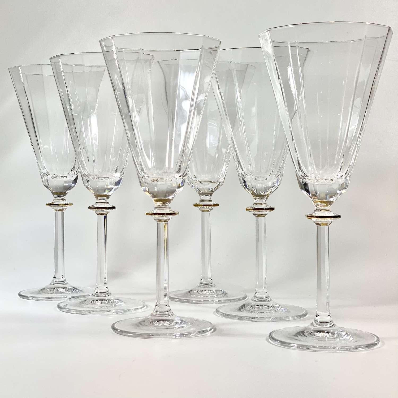 Superb set of fluted gold rim crystal wine goblets