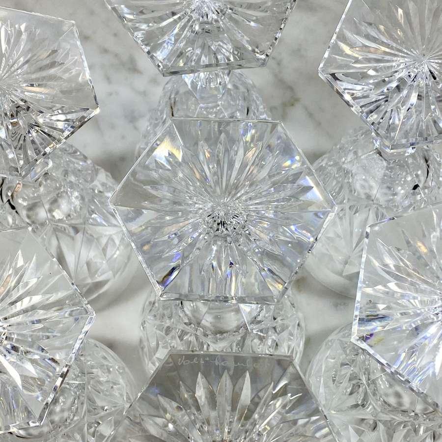 Val Saint Lambert finest crystal water wine glasses Lalaing Fantaisie