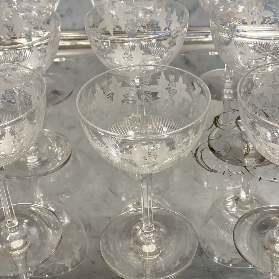 Set of 15 exquisite Victorian vine etched crystal coupes