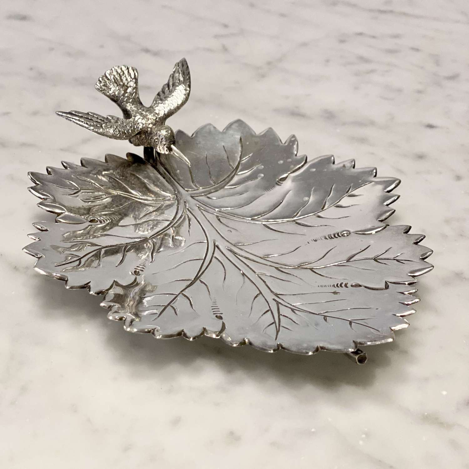 19th Cent vine leaf and swooping kingfisher silver plated dish