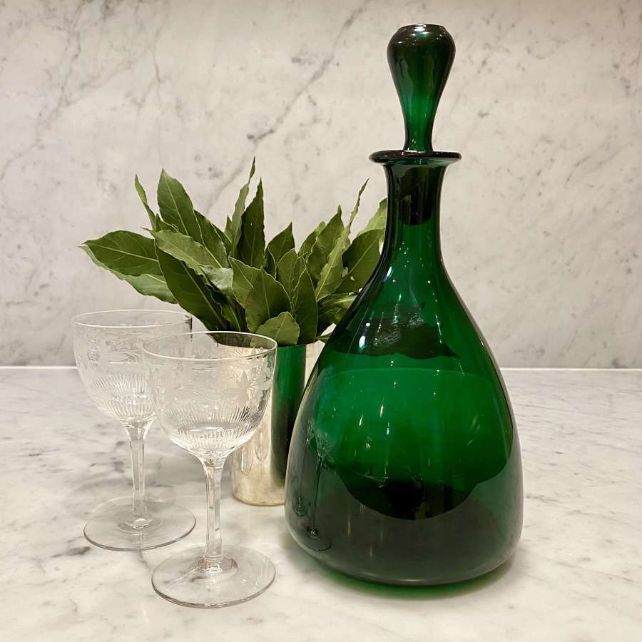 Georgian Bristol green glass broad taper based decanter
