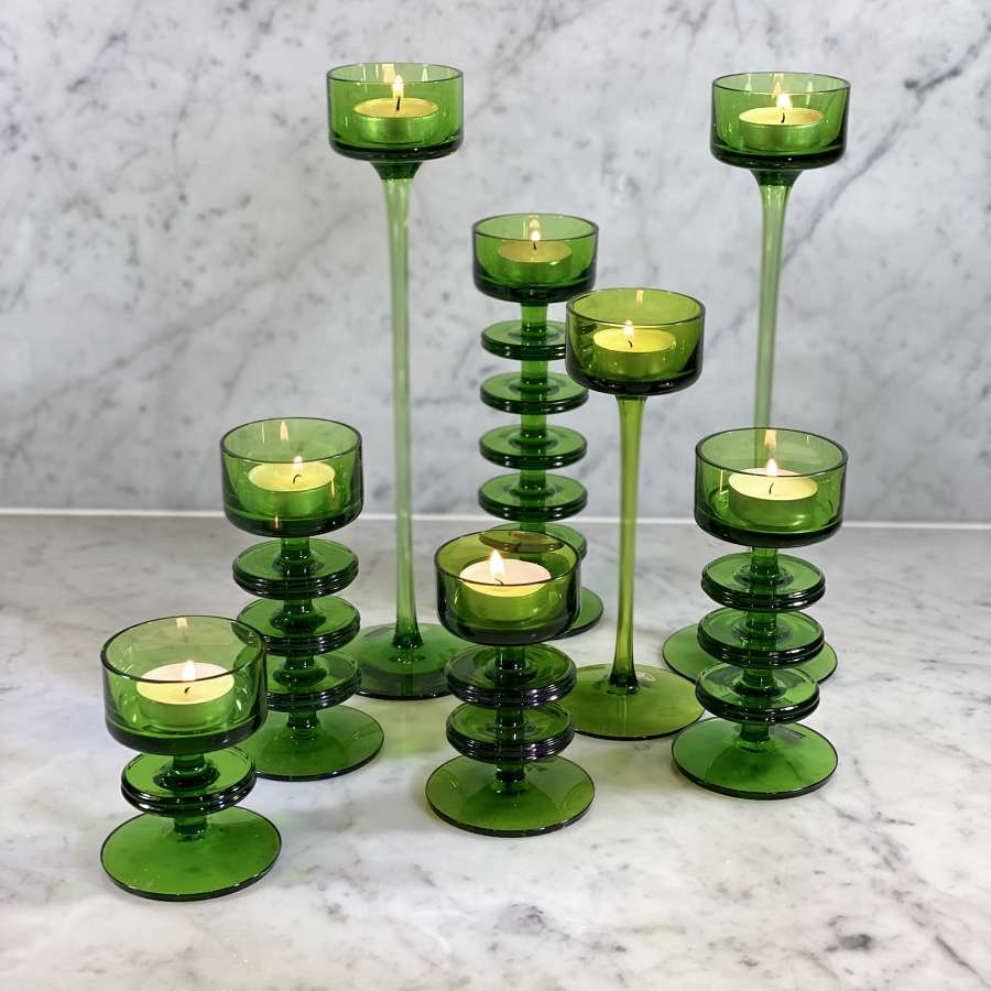 Suite of green Wedgwood candleholders by Ronald Stennett-Wilson