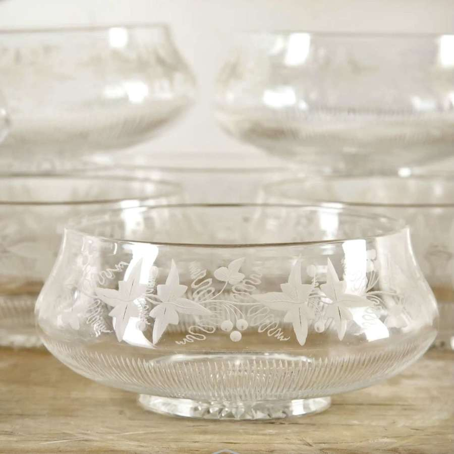 Set of 18 superb Victorian vine etched crystal bowls