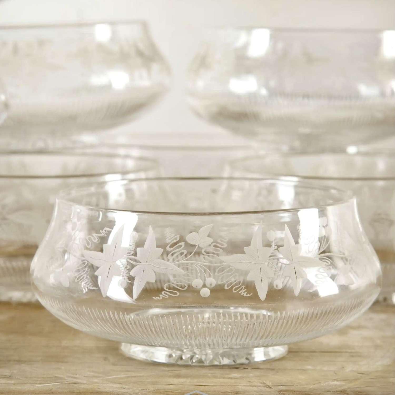 Set of 18 superb Victorian vine etched crystal bowls