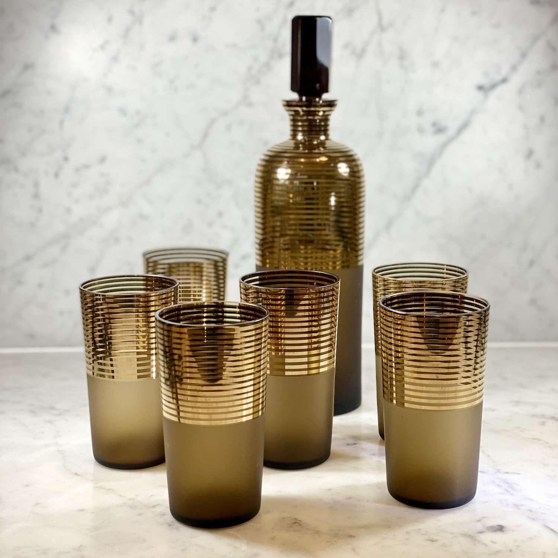 Art Deco Bohemian satin and gold glass decanter set