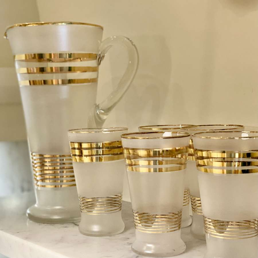 Art Deco satin glass & gold cocktail jug & glasses