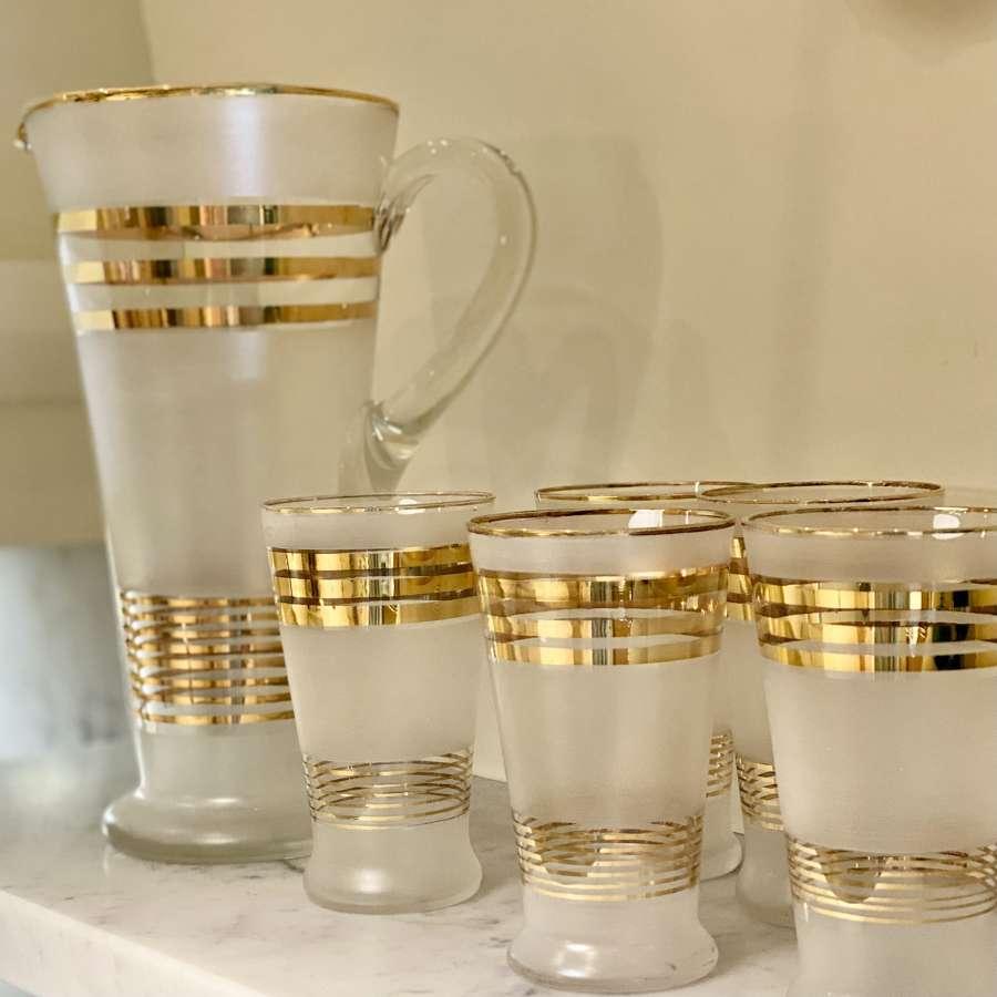 Art Deco satin glass & gold cocktail jug & glasses