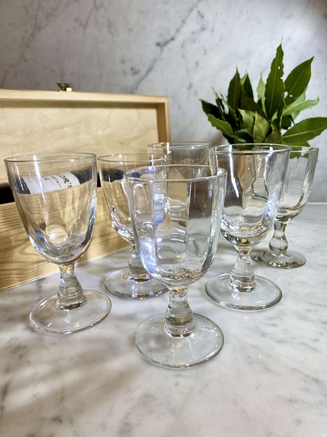 Set of 19th Century ribbed optic Digestif glasses
