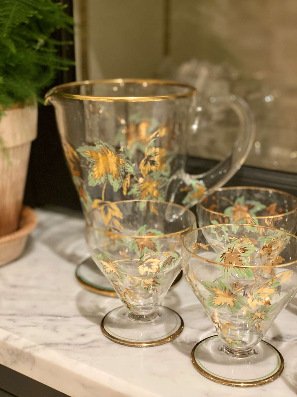 Handblown Mid 20th Century cocktail jug and glasses set