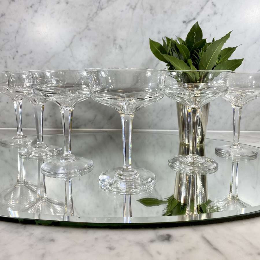 6 Finest Val Saint Lambert crystal champagne or cocktail coupes