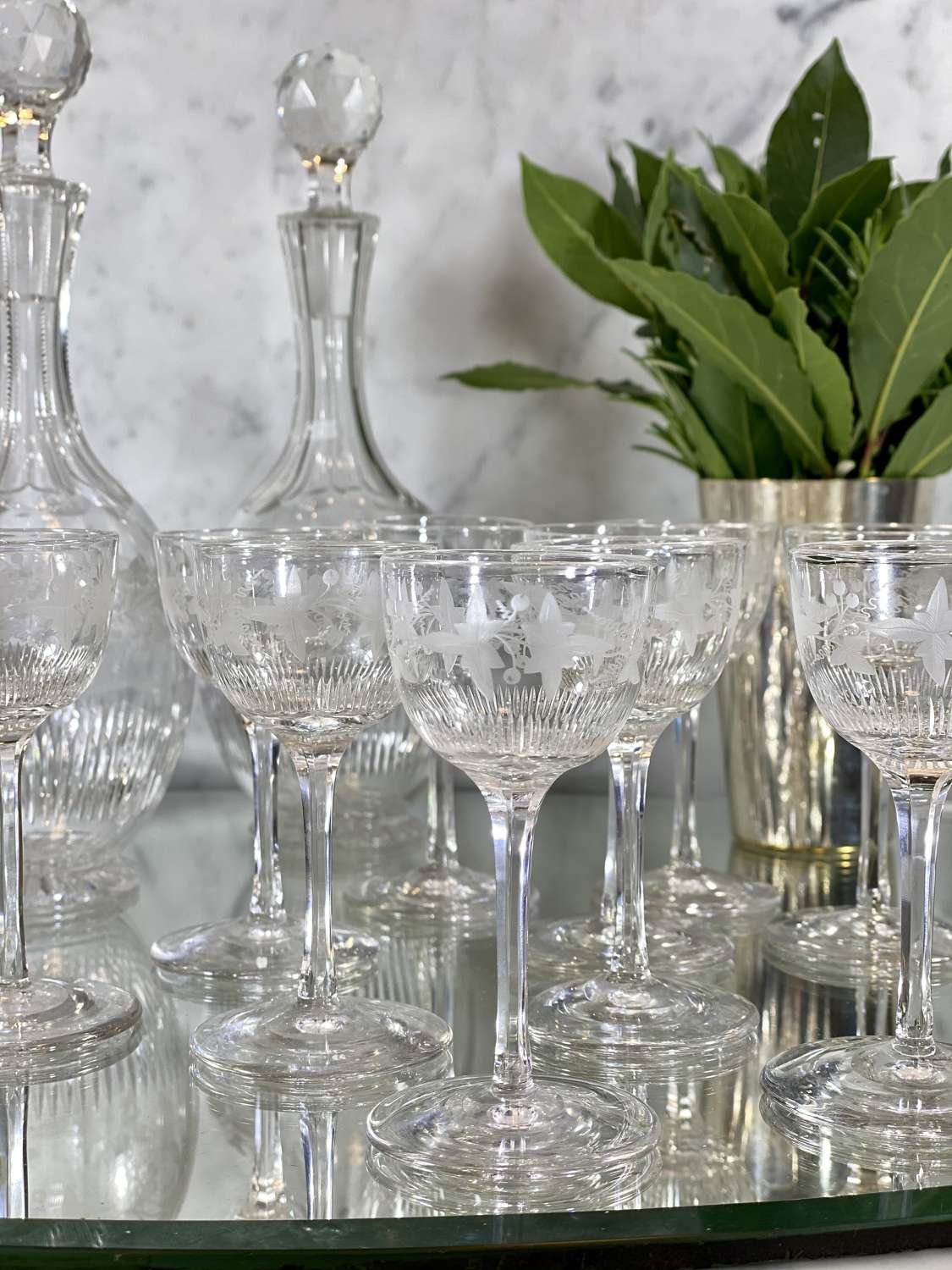 Superb Victorian vine etched crystal liqueur decanter & glasses set