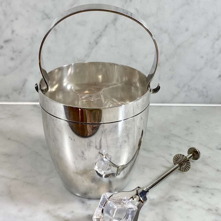 Wiskemann silver plated ice bucket & matching ice grabbers