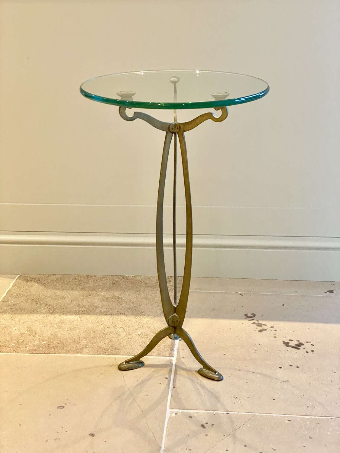 Art Nouveau brass and glass occasional side table
