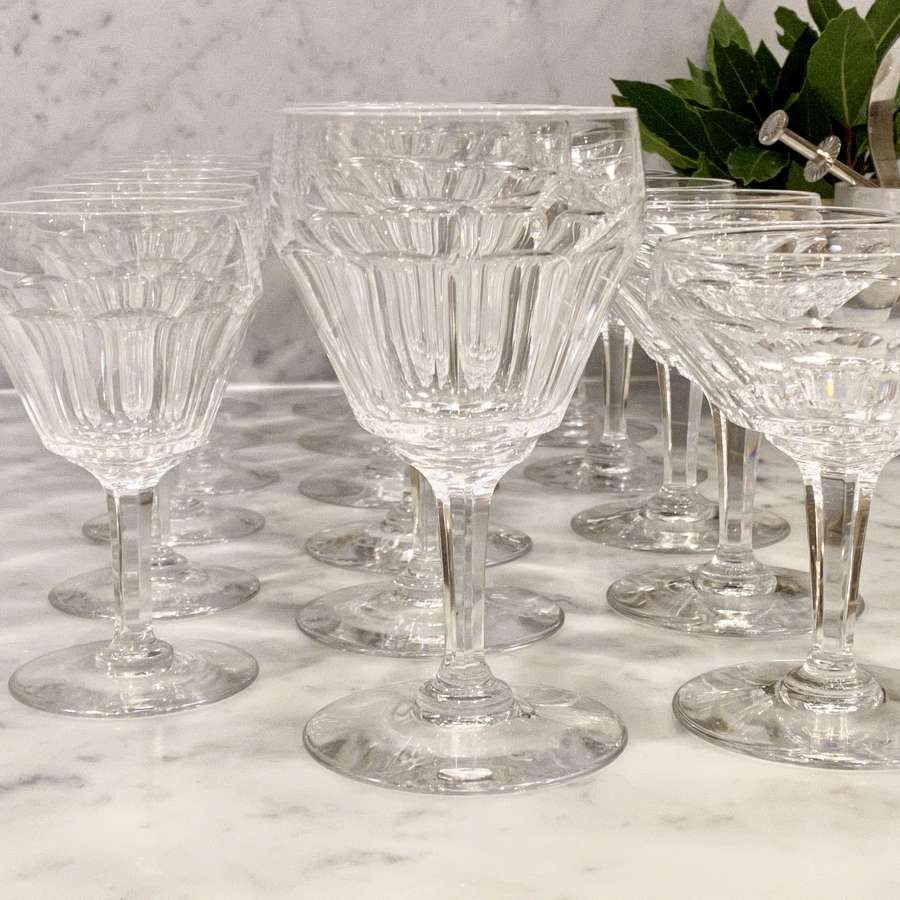 Suite of Val Saint Lambert crystal wine & champagne glasses