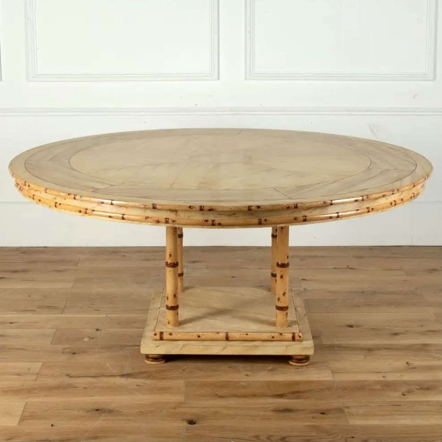 Large round faux marble & bamboo centre or dining table