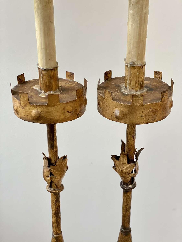 Pair of superb Spanish gilt iron floor lamps Circa 1960