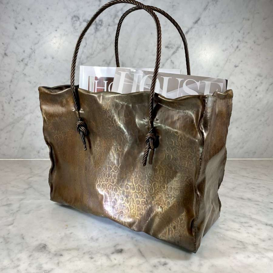Italian Mid 20th Century copper Shopping Bag magazine rack