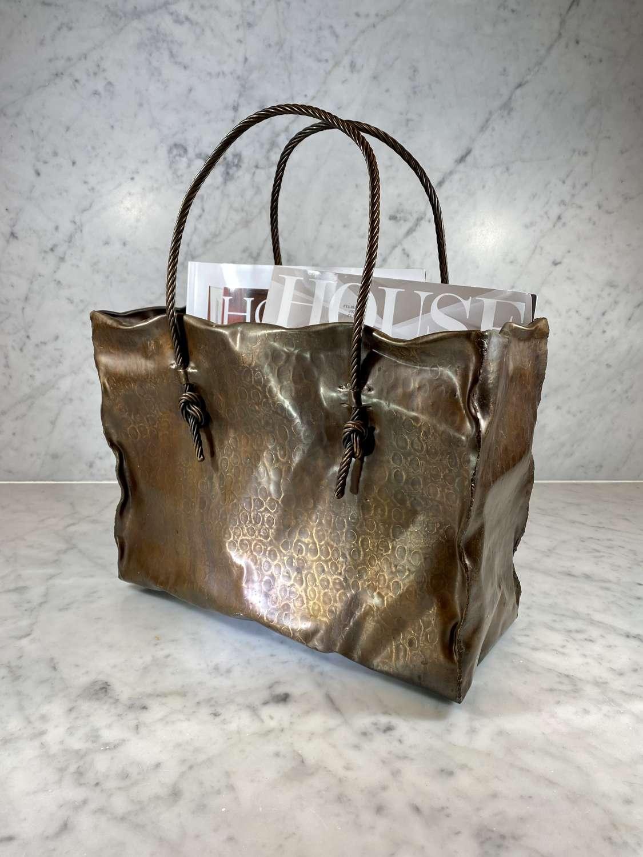 Italian Mid 20th Century copper Shopping Bag magazine rack