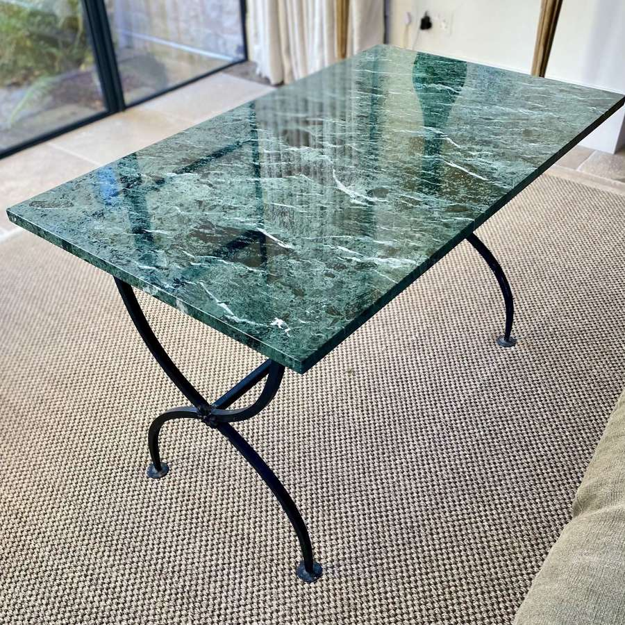 Mid 20th Century green marble & wrought iron table