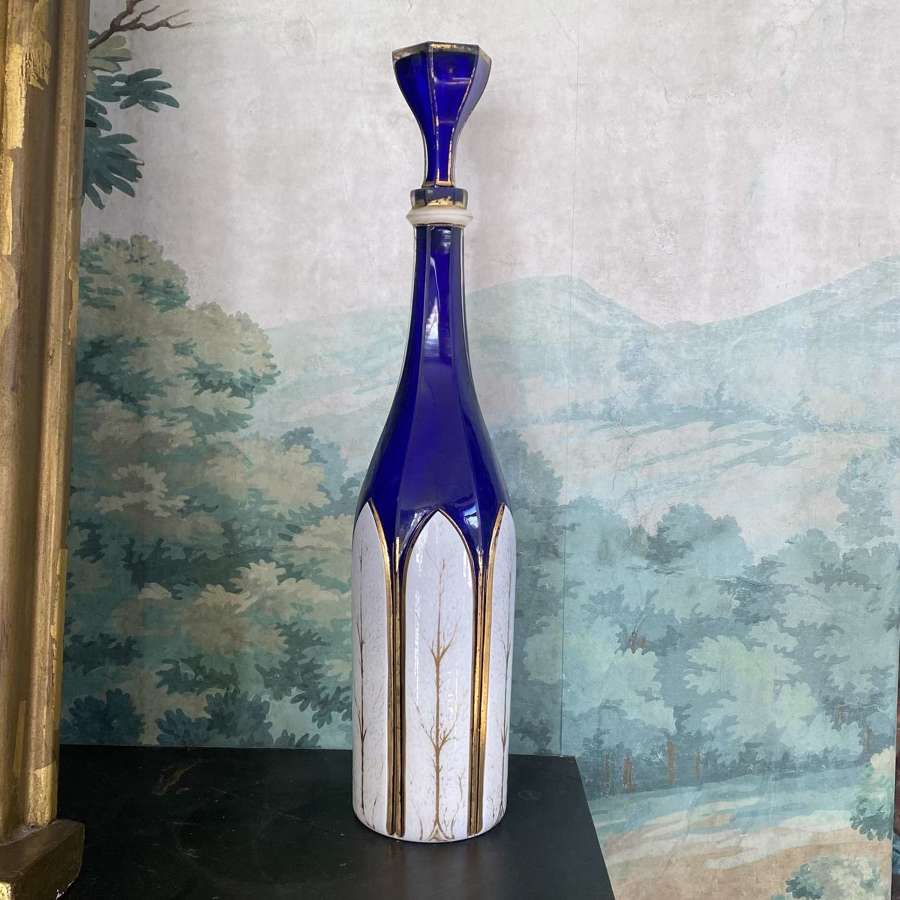 Early Victorian gilded and overlaid cobalt glass decanter